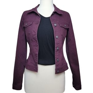 SUKO JEANS Jean Jacket Button Down Purple Waist